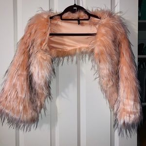 Accessories - Peach off the shoulder Shawl with sleeves